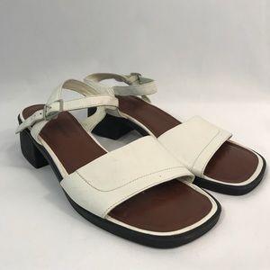Naturalizer white chunky heels size 10 square toe
